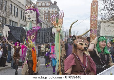 Colorful Asheville Mardi Gras Parade