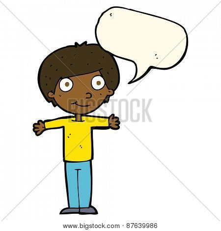 cartoon happy boy with open arms with speech bubble