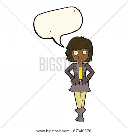 cartoon girl in jacket with speech bubble