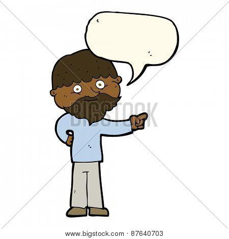 cartoon bearded man pointing with speech bubble