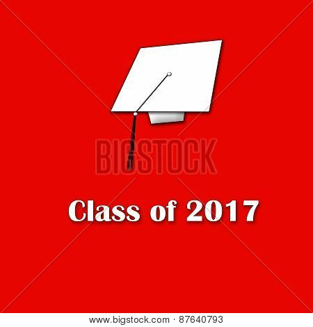 Class of 2017 White on Red Lg Sngl