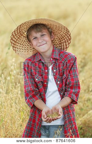 Portrait Of Smiling Teenage Farm Boy Is Checking Oat Seeds In Cupped Palms At Harvest Time Field