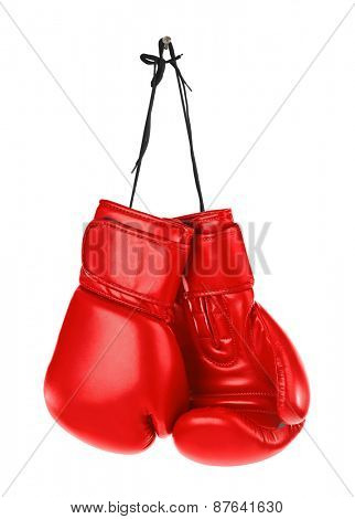 Hanging boxing gloves isolated on white background