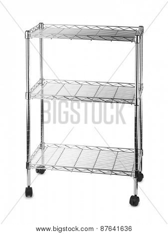 Metal shelves rack isolated on white background