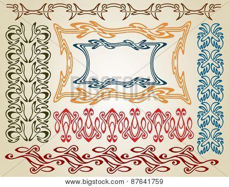 Art Nouveau elements and frames