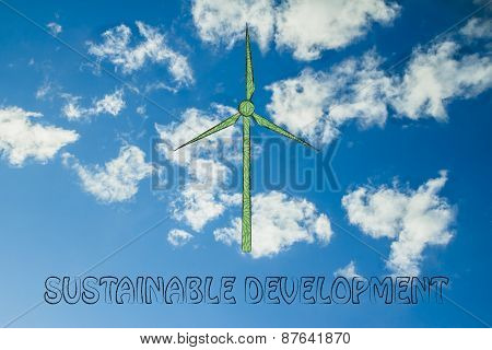 Alternative Energy: Illustration Of Wind Turbine Made Of Leaves