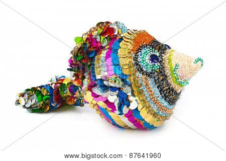 Knitted toy fish isolated on white background