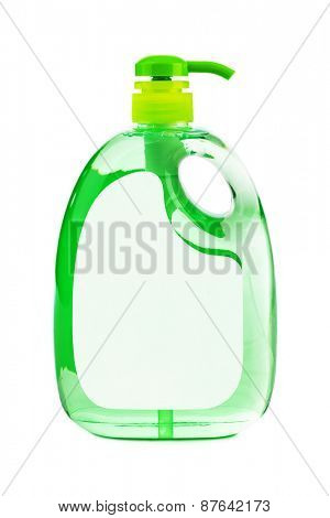 Green plastic bottle isolated on white background