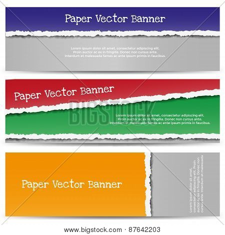 Torn Color Paper Banners.