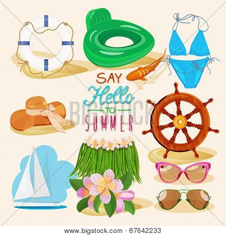 Summer set with beach items on light beige background