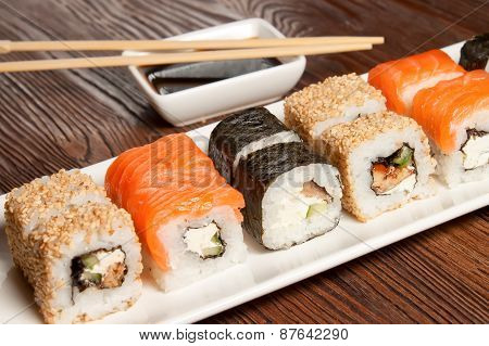 Sushi Assortment On White Dish