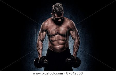 Cropped Image Of Young Muscular Man Doing Heavy Dumbbell Exercise For Biceps. Man Working Out With D