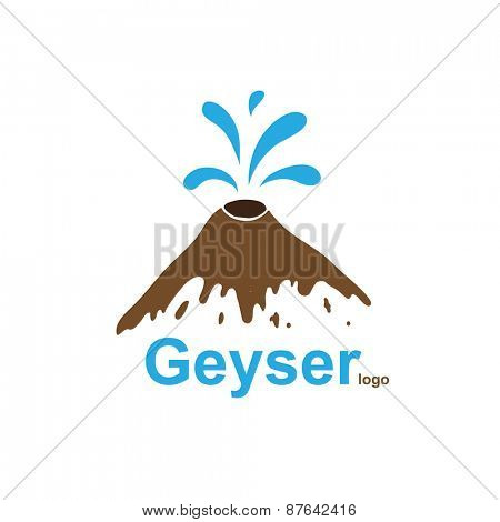 Geyser, water gushes out of the ground, logo illustration