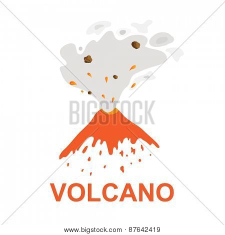 eruption of a volcano, vector logo illustration