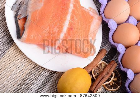 Slice Of Red Fish Salmon With Fruits