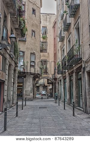 Street In Barcelona's Gothic Quarter, Catalonia, Spain