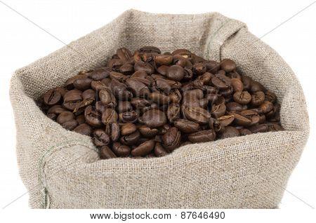 Burlap Bag Of Coffee Beans Roasted Coffee