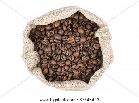 Burlap Bag Of Coffee Beans Roasted Coffee, Top View