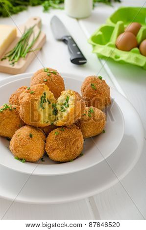 Homemade Potato Croquettes With Parmesan And Chives