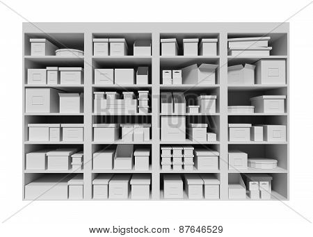 Mall Shelves With Boxes  Isolated On White Background