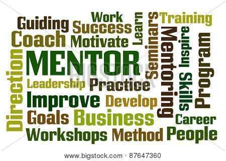 Mentor word cloud on white background