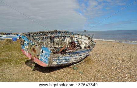 Old boat on Sizewell beach.