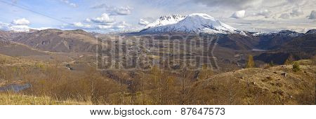 Mt. St. Helen's Panoramic View With Dramatic Skies
