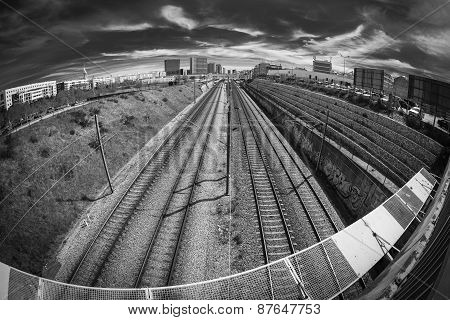 monochrome of a railway in Lisbon town, Portugal