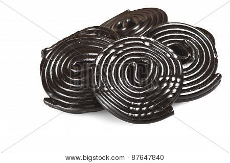 Liqorice wheels candies