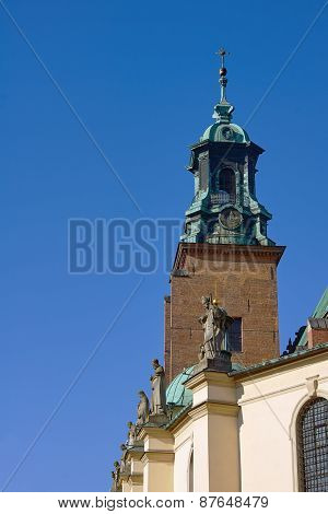 Tower and statues at the Basilica of the Archdiocese