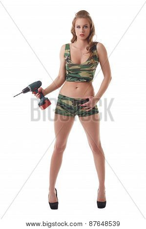 Repair as military battle. Sexy model with drill