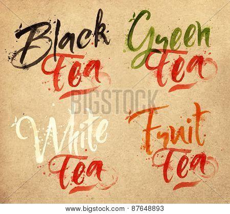 Lettering tea drops kraft