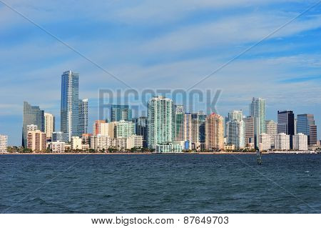 Urban architecture over sea from Miami Florida in the day.