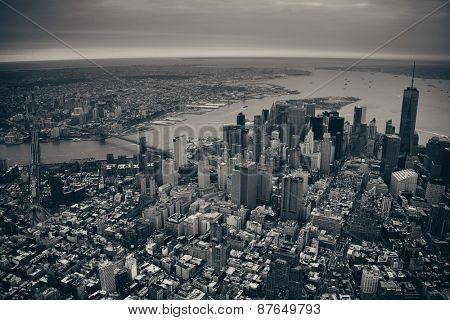 New York City Manhattan downtown aerial view with bridges