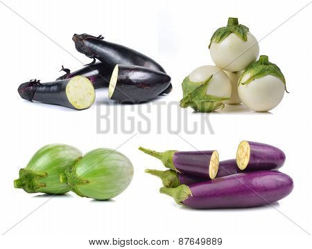 Set Of Eggplant Isolated On White Background