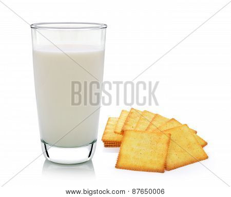 Glass Of Milk And Cracker Isolated On White Background