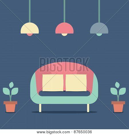 Flat Design Interior Vintage Sofa.