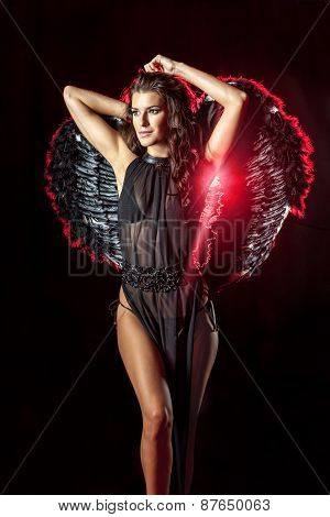 Dark Angel With Perfect Hairstyle And Makeup