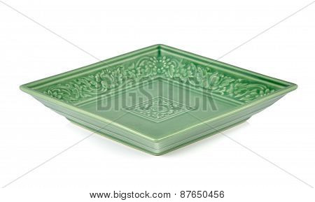 Green Ceramic Plate On A White Background