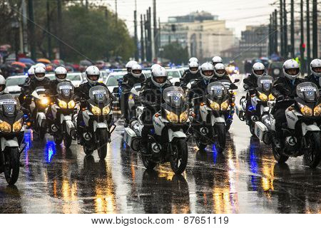 ATHENS, GREECE - MAR 25, 2015: Unidentified participants and military equipment during Military parade at national holiday - Day of National Revival Greece or Independence Day of Greece.