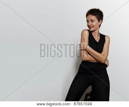 Pretty Woman On A White Back. Short Haircut