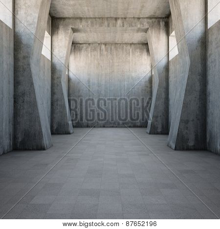 Concrete corridor with old worn walls