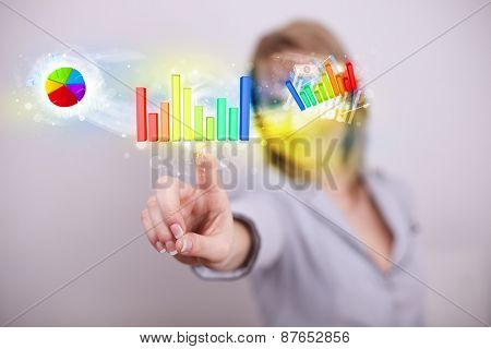 Businesswoman touching colorful modern graph system concept