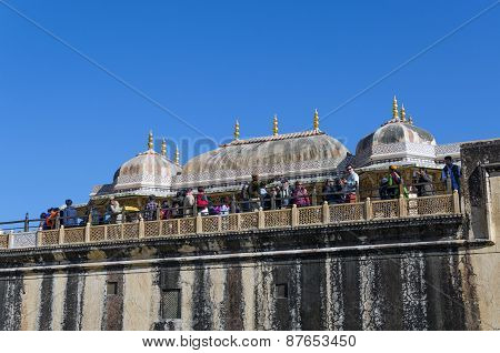 Jaipur, India - December 29, 2014: Tourist Visit Amber Fort In Jaipur, India