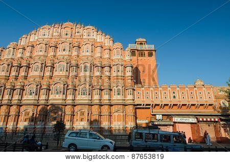 Jaipur, India - December 29, 2014: Unidentified Tourists Visit Hawa Mahal