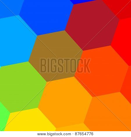 Simple colorful hexagonal mosaic. Abstract background. Geometric pattern. Decorative composition.