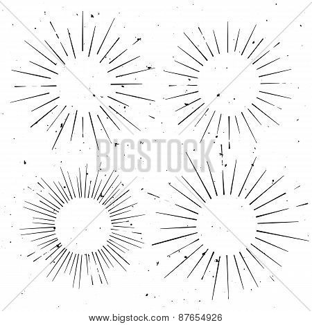 Set Of Vintage Circle Hand Drawn Ray Frames, Starburst Template With A Space For Your Text, Company