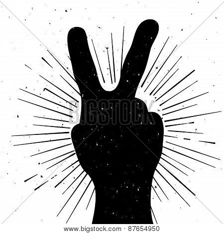 Distressed Peace Sign Silhouette, Grunge Template For Your Text