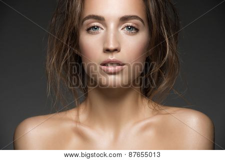Portrait of young beautiful caucasian woman. Beauty care concept of beautiful caucasian female model  with healthy skin.