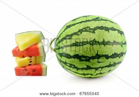 Red  And Yellow Water Melon On White Background